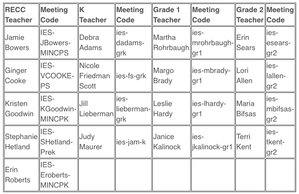 Google Meet Primary Teacher Codes